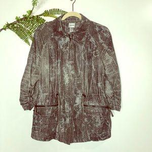 Chico's Snakeskin 3/4 ruched hem jacket light long